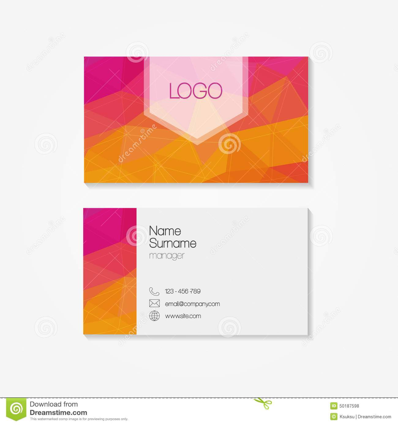 Trendy Business Card In Modern Low Polygon Style Illustration ...