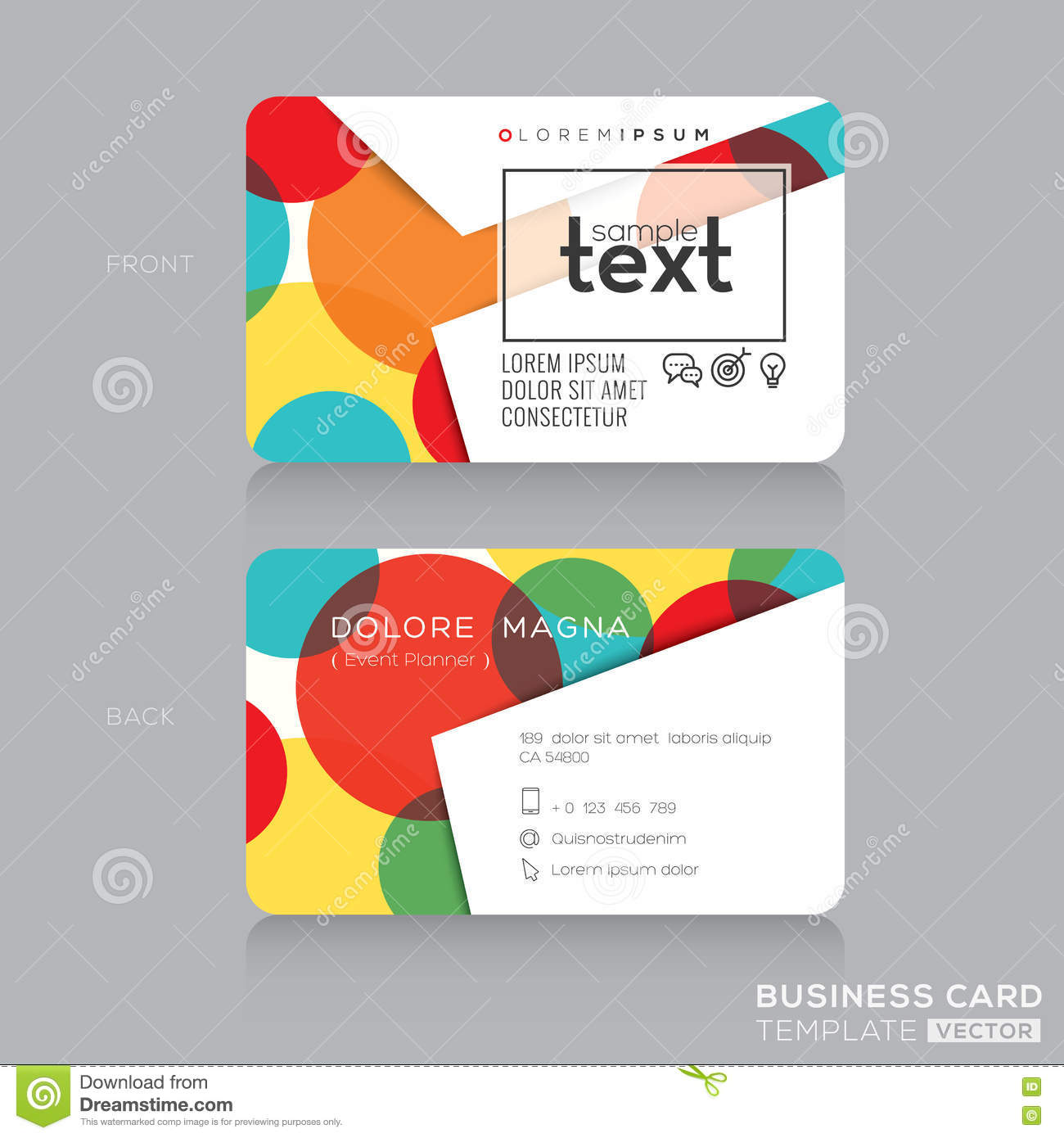Trendy Business Card Template With Colorful Circles Background ...