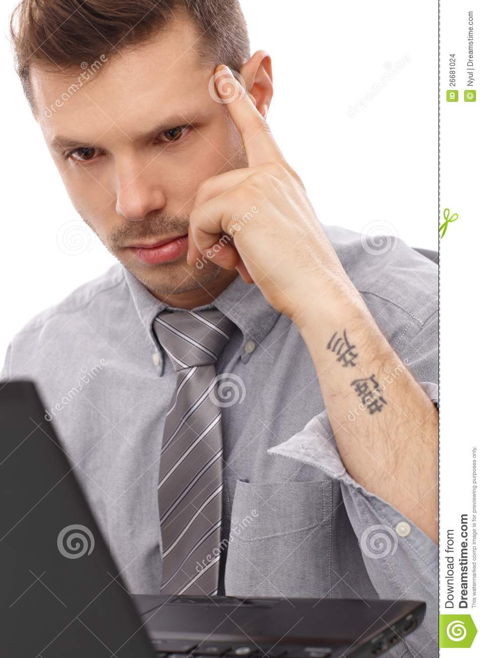 Trendy businessman with tattoo stock photo image 26681024 for Working man tattoo