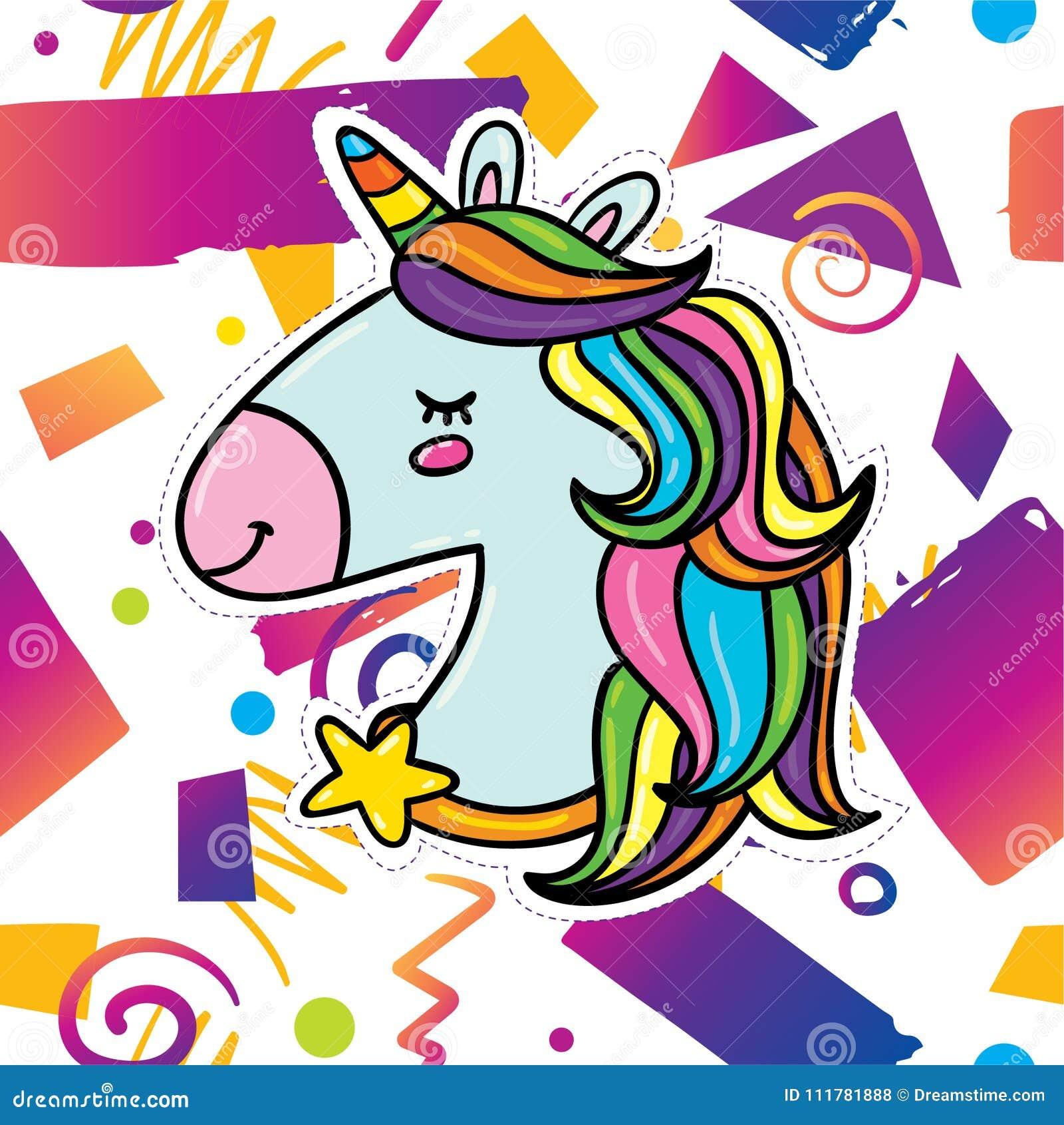 Trendy card design with unicorn