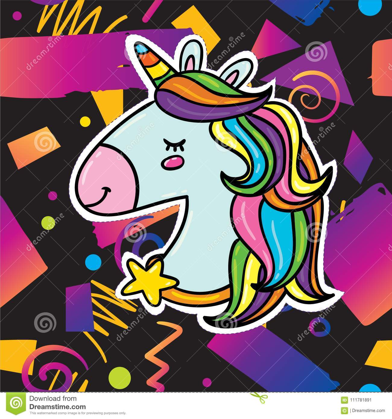 Trendy card design with unicorn