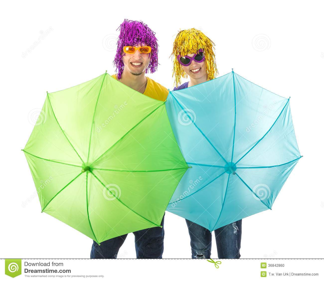 Trendy Couple With Sunglasses And Wigs Protected By