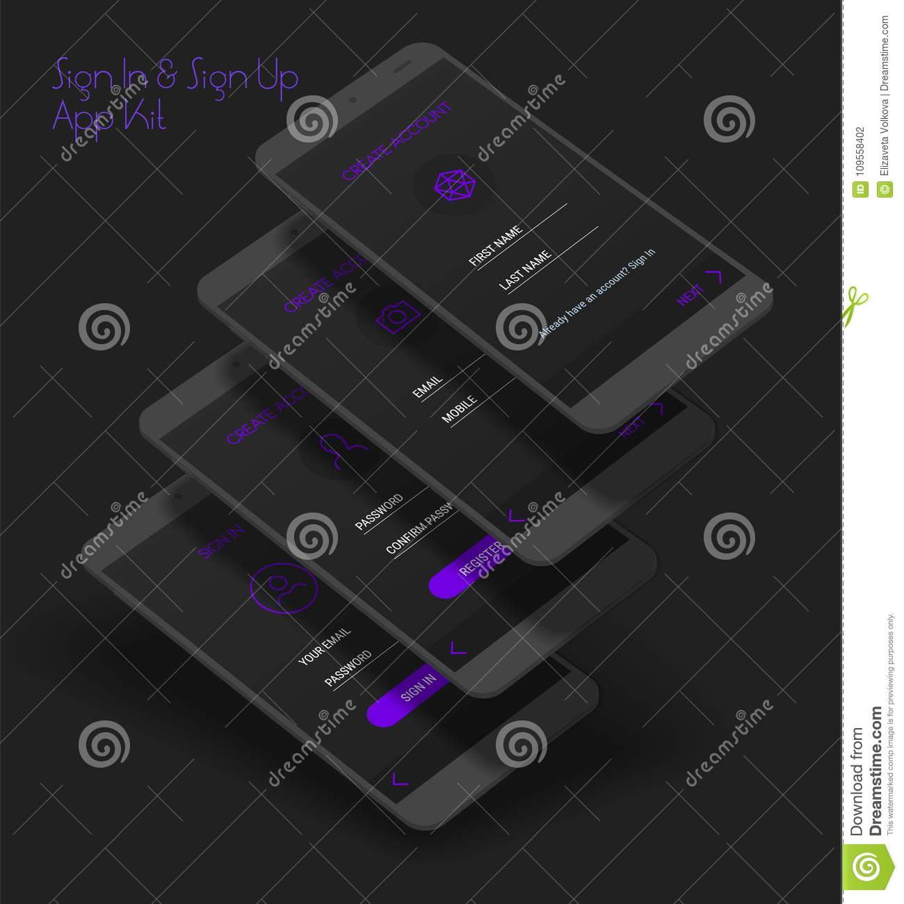 Mobile App UI Sign In And Sign Up Screens 3d Mockup Kit Stock Vector ...