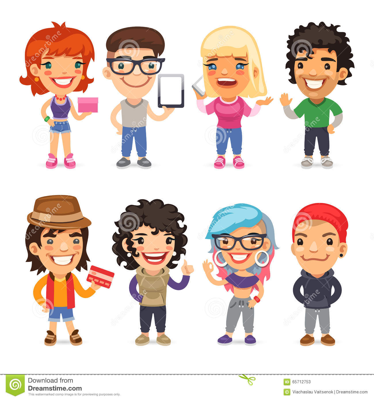 Cartoon Characters To Dress Up As : Trendy dressed cartoon characters stock vector