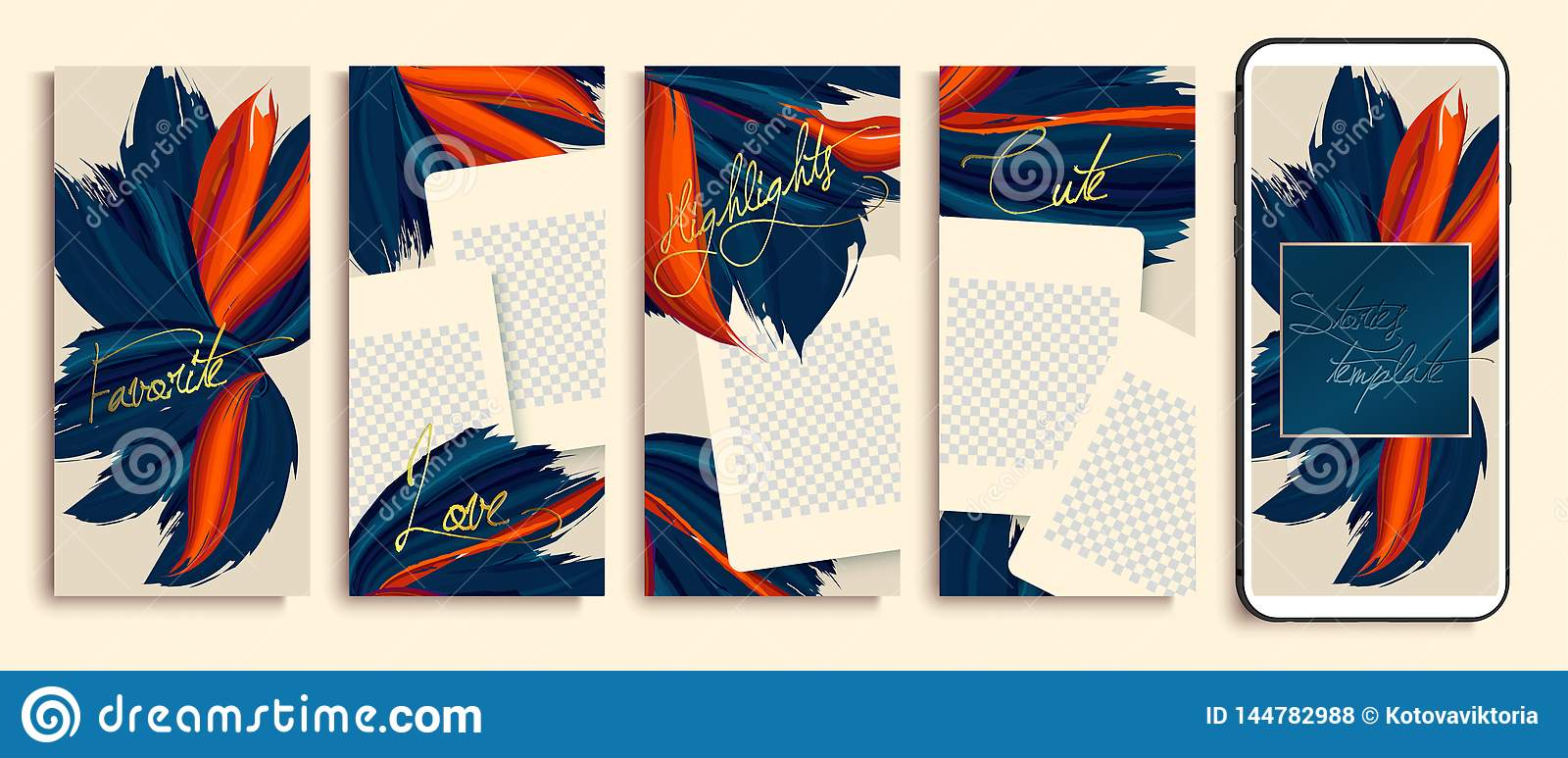 Trendy Editable Stories Templates With Blue And Orange Flowers Vector Illustration Instagram Highlight Covers Insta Fashion Stock Vector Illustration Of Frame Fashion 144782988