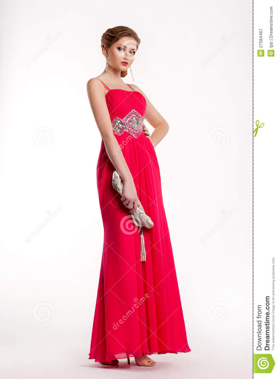 Trendy fashion model in long red dress posing stock image - Modele dressing ...
