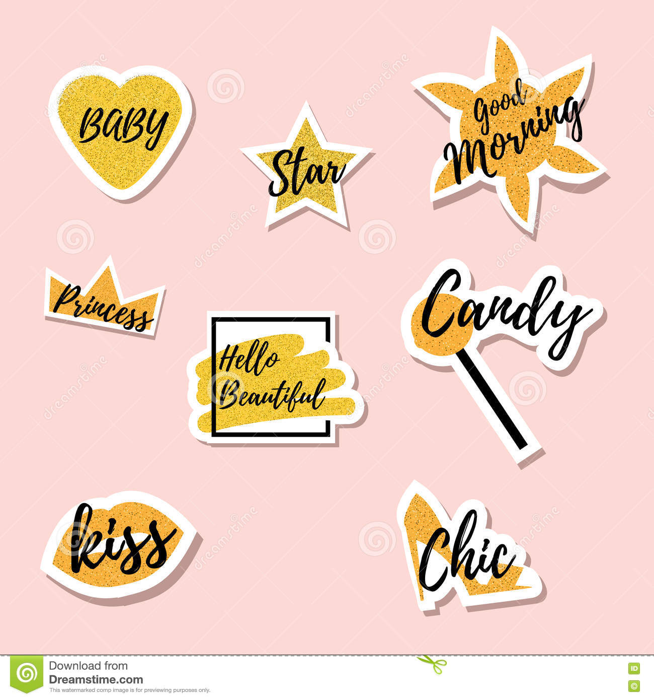 Trendy Fashionable Gold Colored Pins Cool Patches Badges Stickers