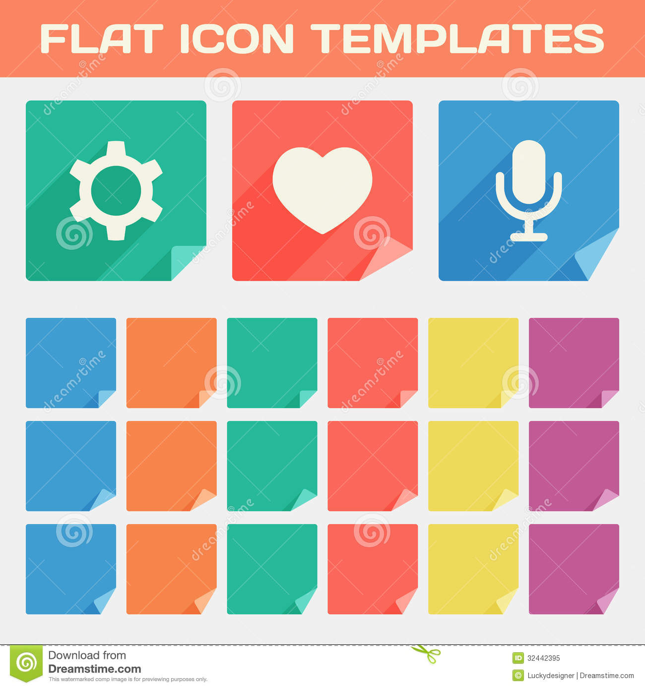 trendy flat app icon templates with different folded corners stock