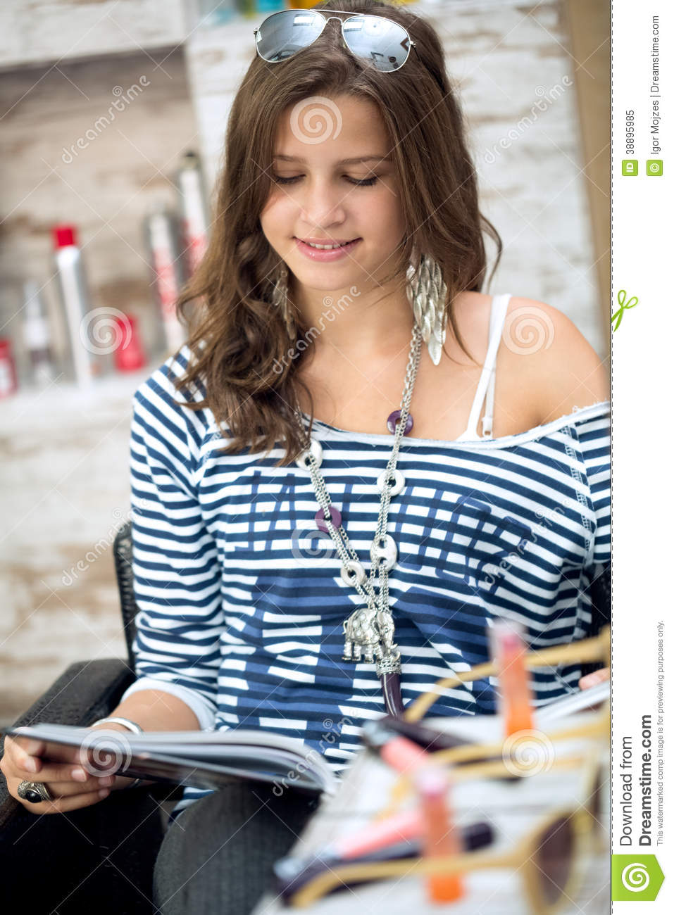 Girl in a beauty salon reading the newspaper vector for Reading beauty salon