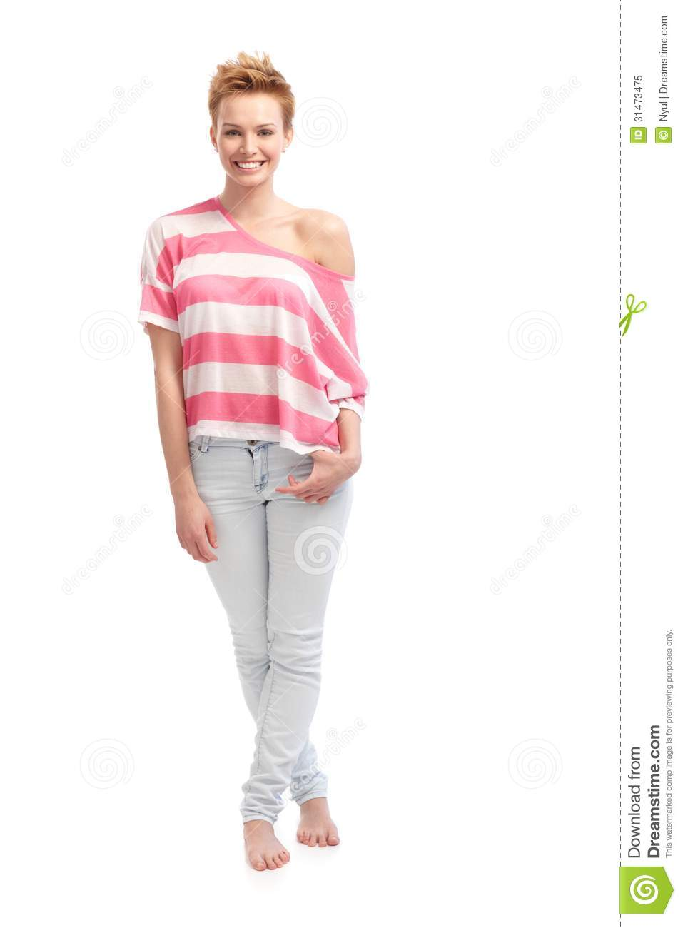 Trendy Girl In T-shirt And Jeans Stock Image - Image: 31473475