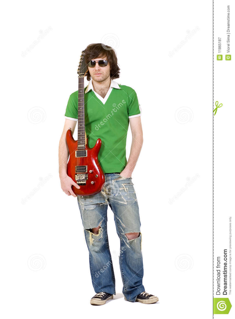 trendy guy holding an electric guitar stock image image of cool model 11865187. Black Bedroom Furniture Sets. Home Design Ideas