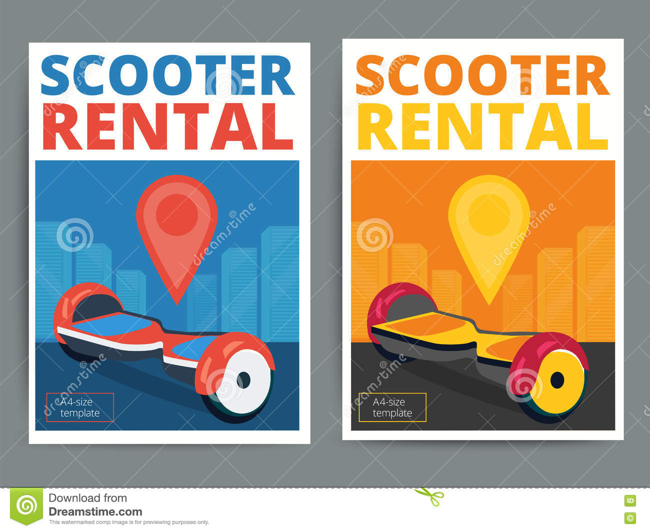 Poster design size - Trendy Gyroscooter Rental Service Poster Design Stock Vector