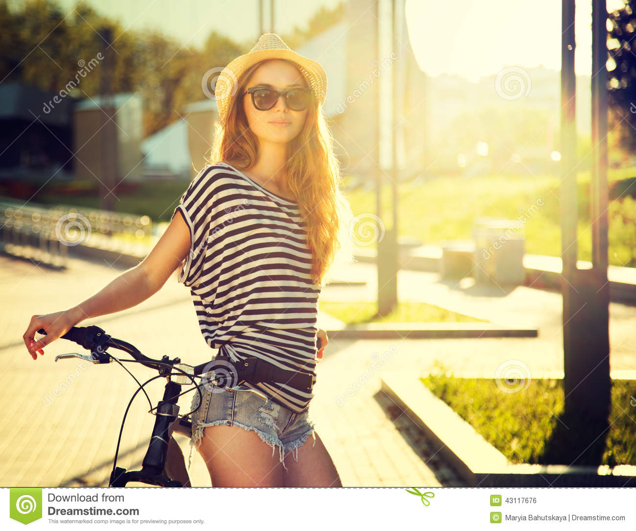 Trendy Hipster Girl With Bike In The City Stock Photo Image 43117676