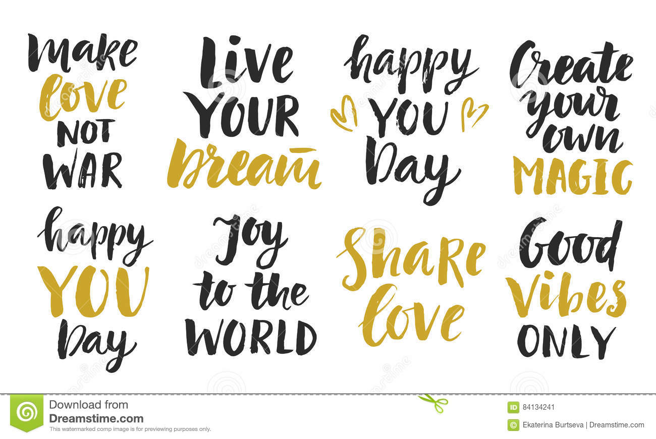 Inspirational Phrases Trendy Inspirational Phrases Collection Stock Vector