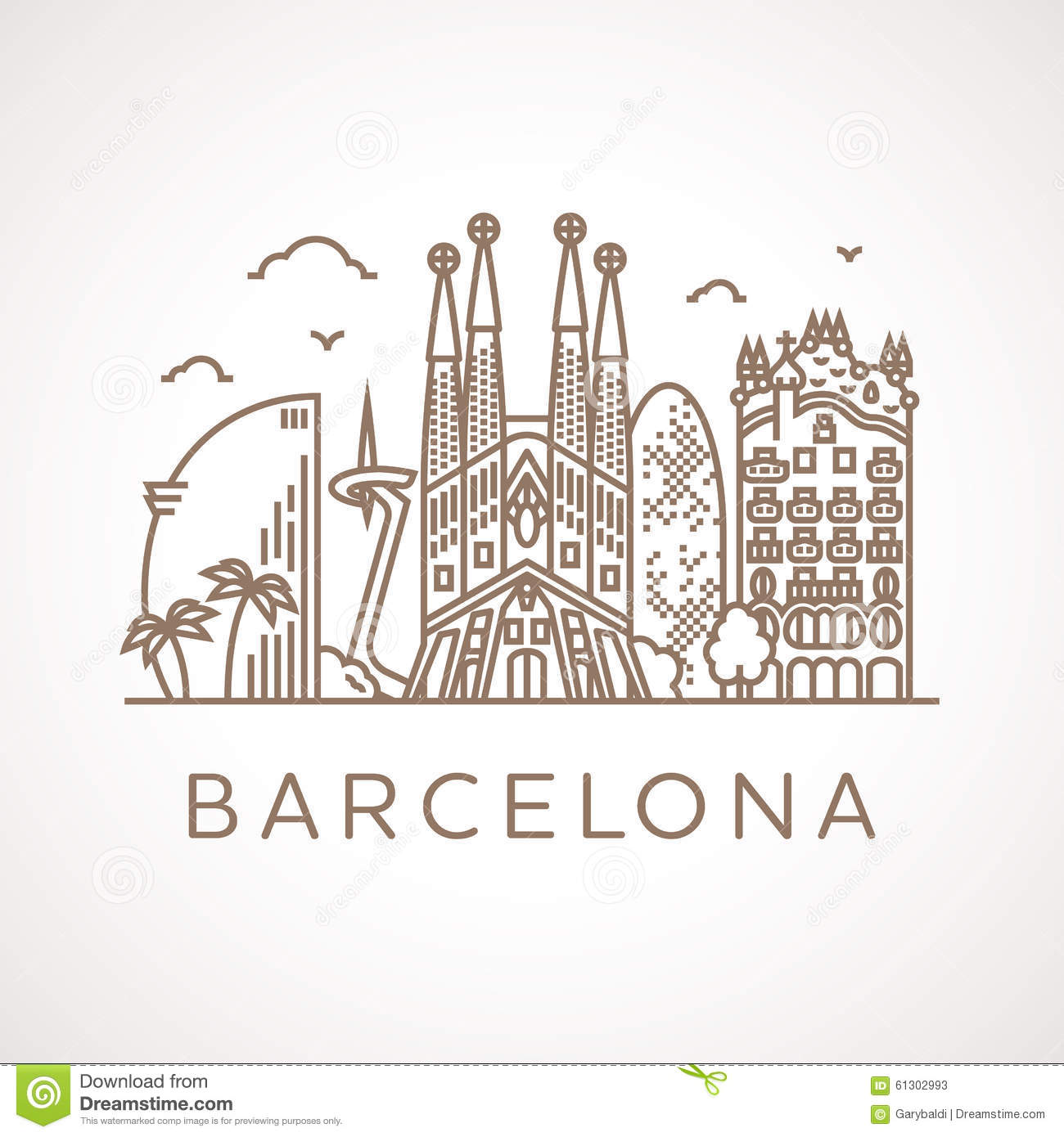 Line Art Design Illustration : Trendy line art illustration of barcelona stock