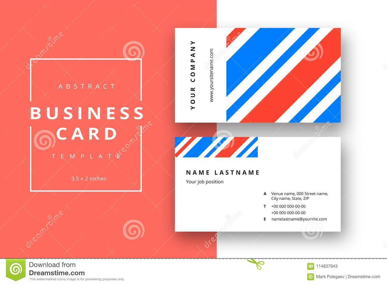 Trendy minimal abstract business card template in blue color mo download trendy minimal abstract business card template in blue color mo stock vector illustration reheart Choice Image