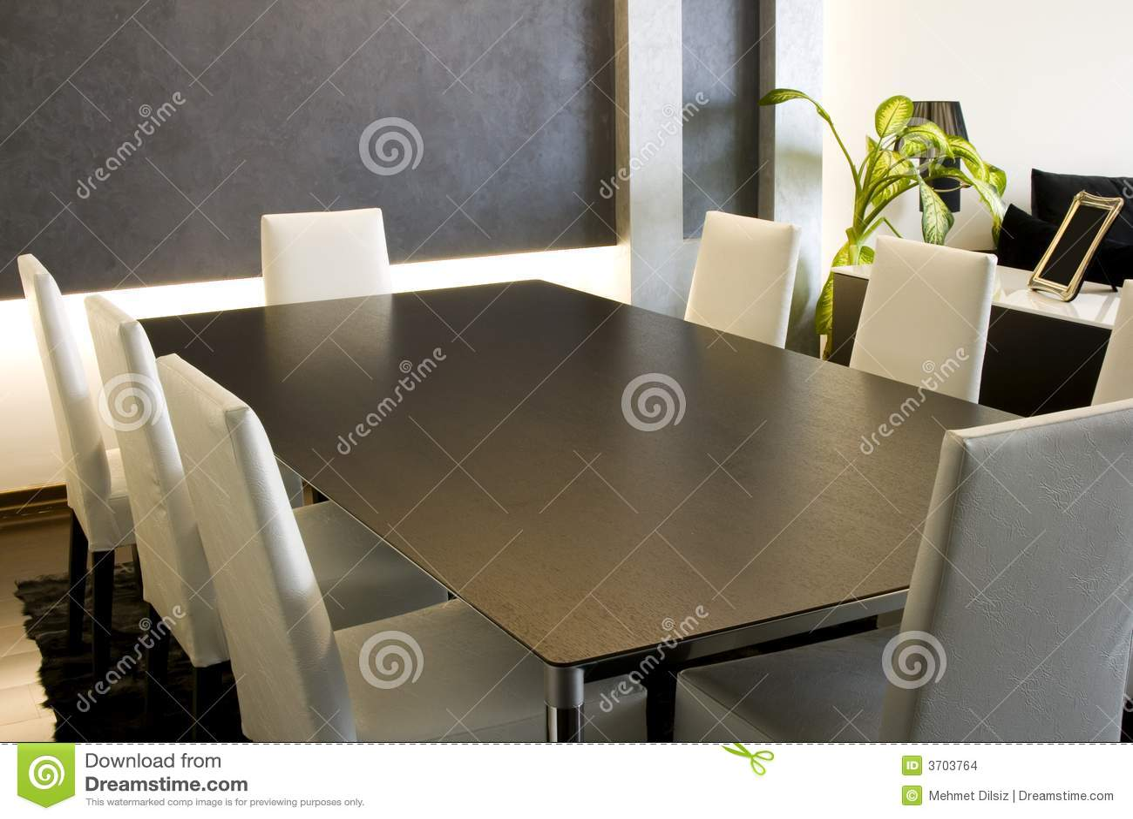 Trendy moderne eetkamer stock foto afbeelding bestaande uit