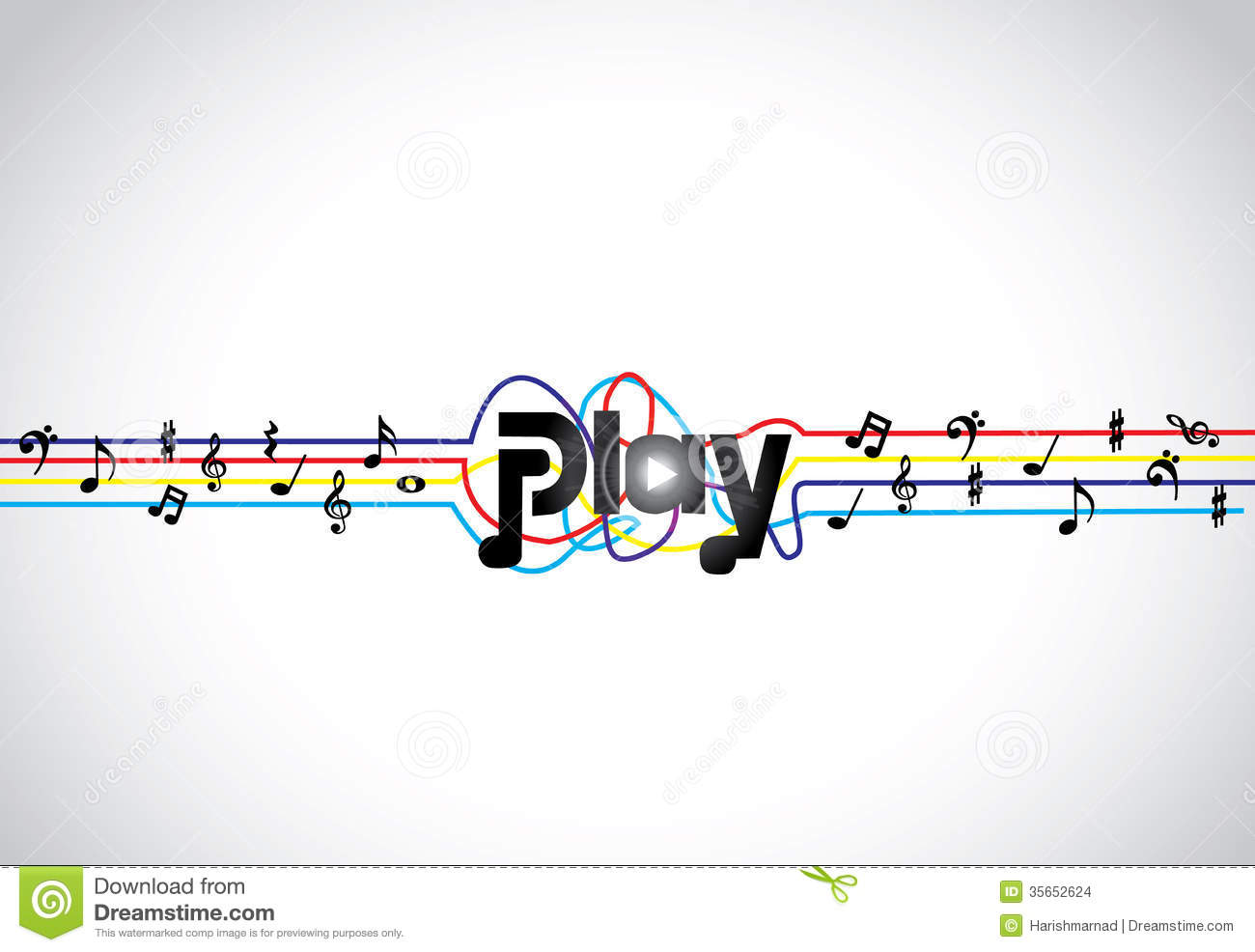 Trendy Music Play Icon Or Symbol With Glowing Play Text Art With
