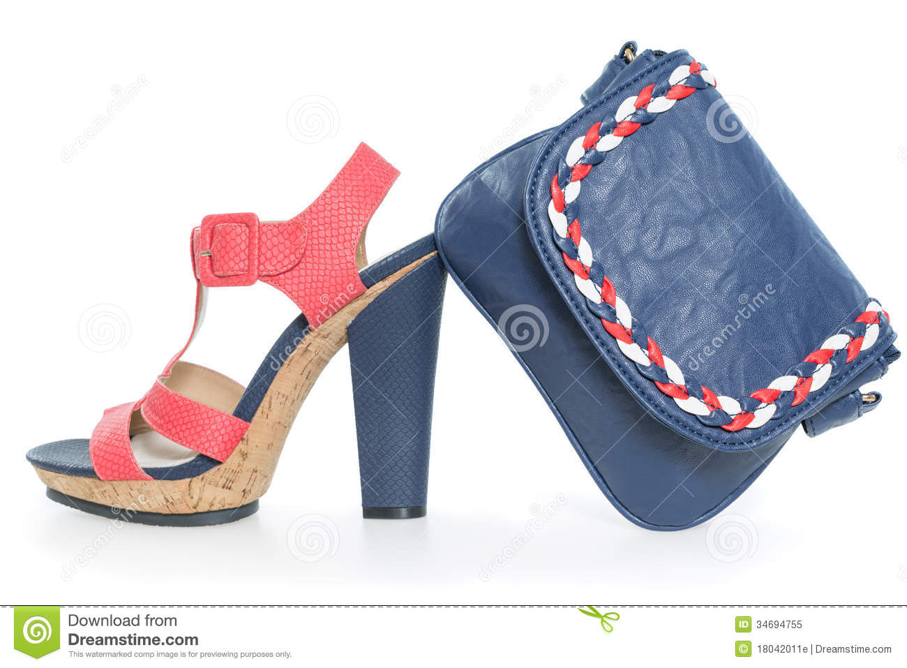 trendy navy blue and pink shoes with matching bag royalty