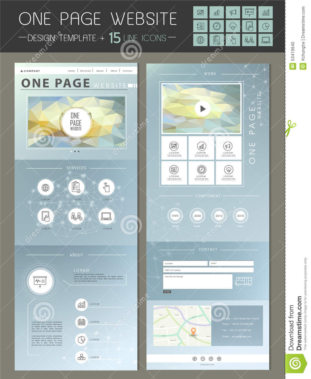 Trendy One Page Website Template Design Stock Vector