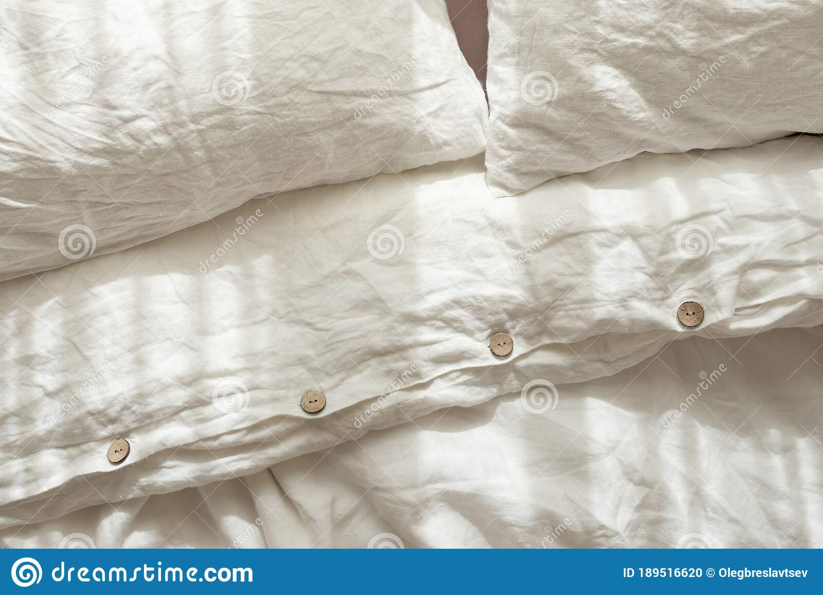 Trendy Organic Natural Linen Bedclothes With Wooden Buttons Closeup Bedding Stock Photo Image Of Fabric Clean 189516620