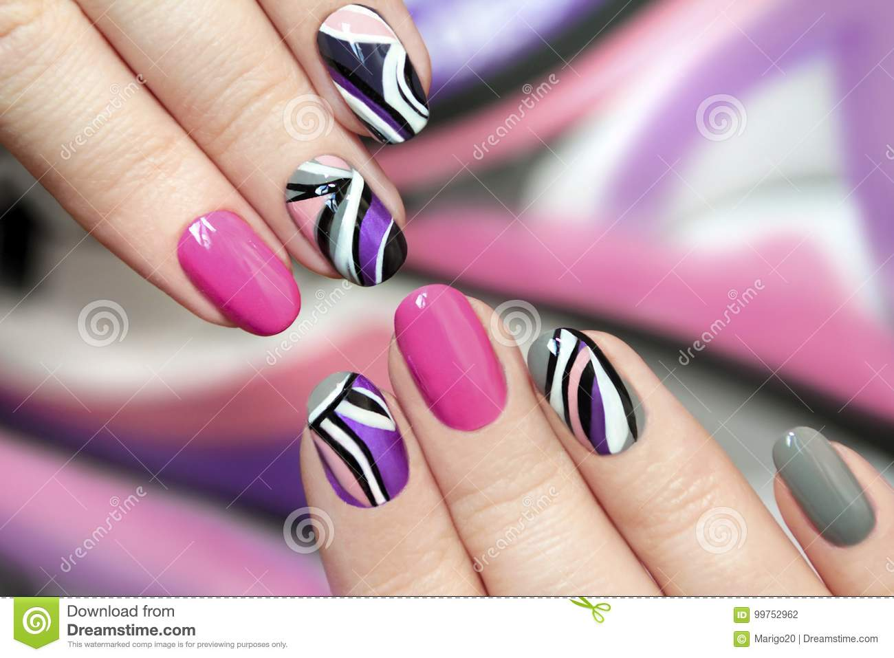 Trendy Pink Purple Nail Polish Stock Photo Image Of Fingers