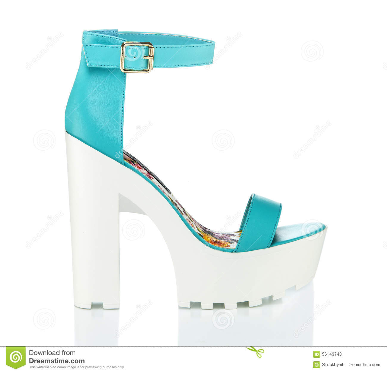 b51418a7c459 Top fashionable high heels shoes with platform and rugged white lug sole  and an ankle-strap. Made of light blue faux leather