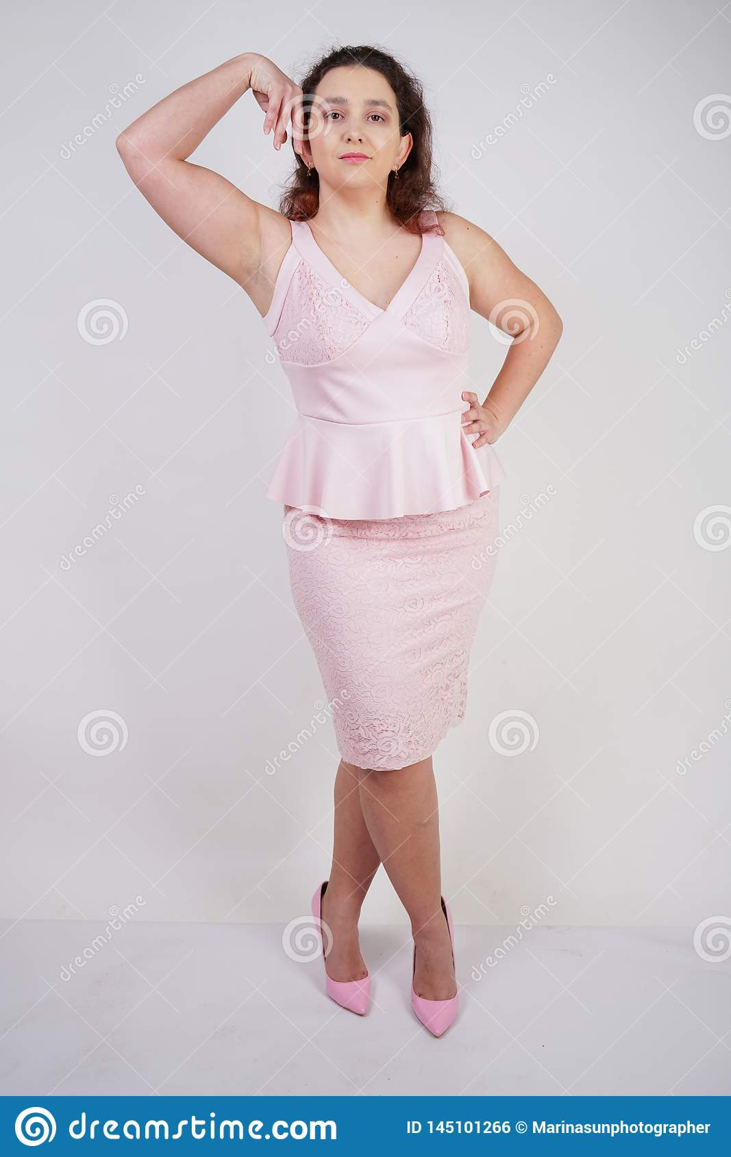 Trendy Plump Positive Woman With Plus Size Body Posing In Pink Cute ...