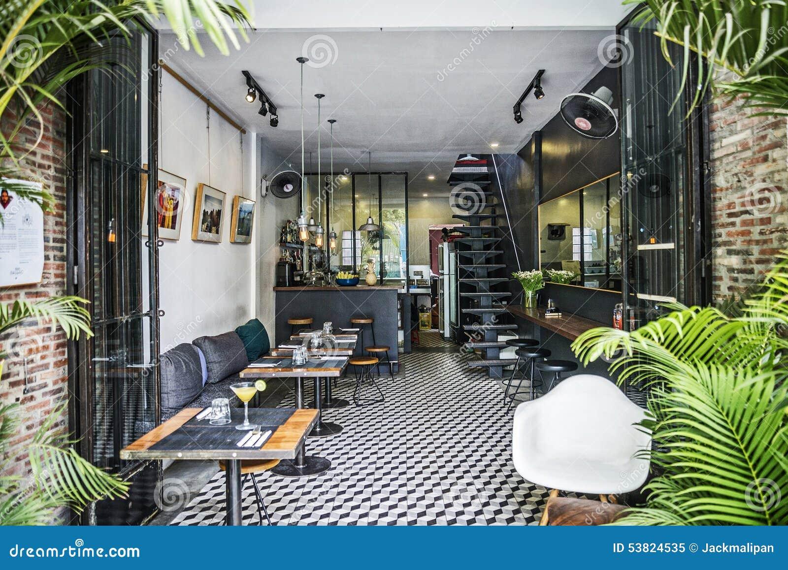 Trendy retro style restaurant interior design editorial