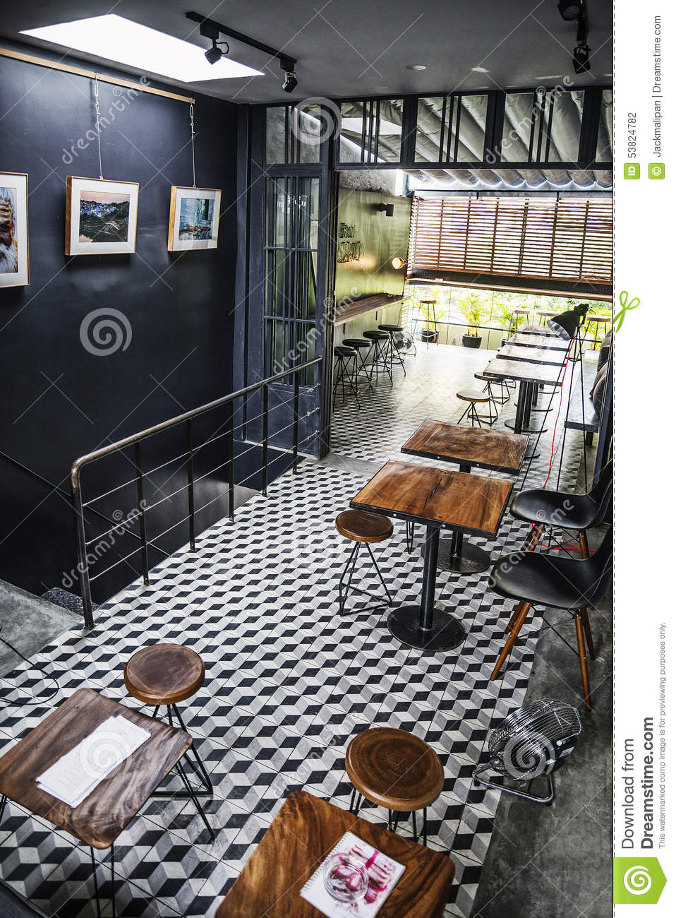 Trendy retro style restaurant interior design editorial