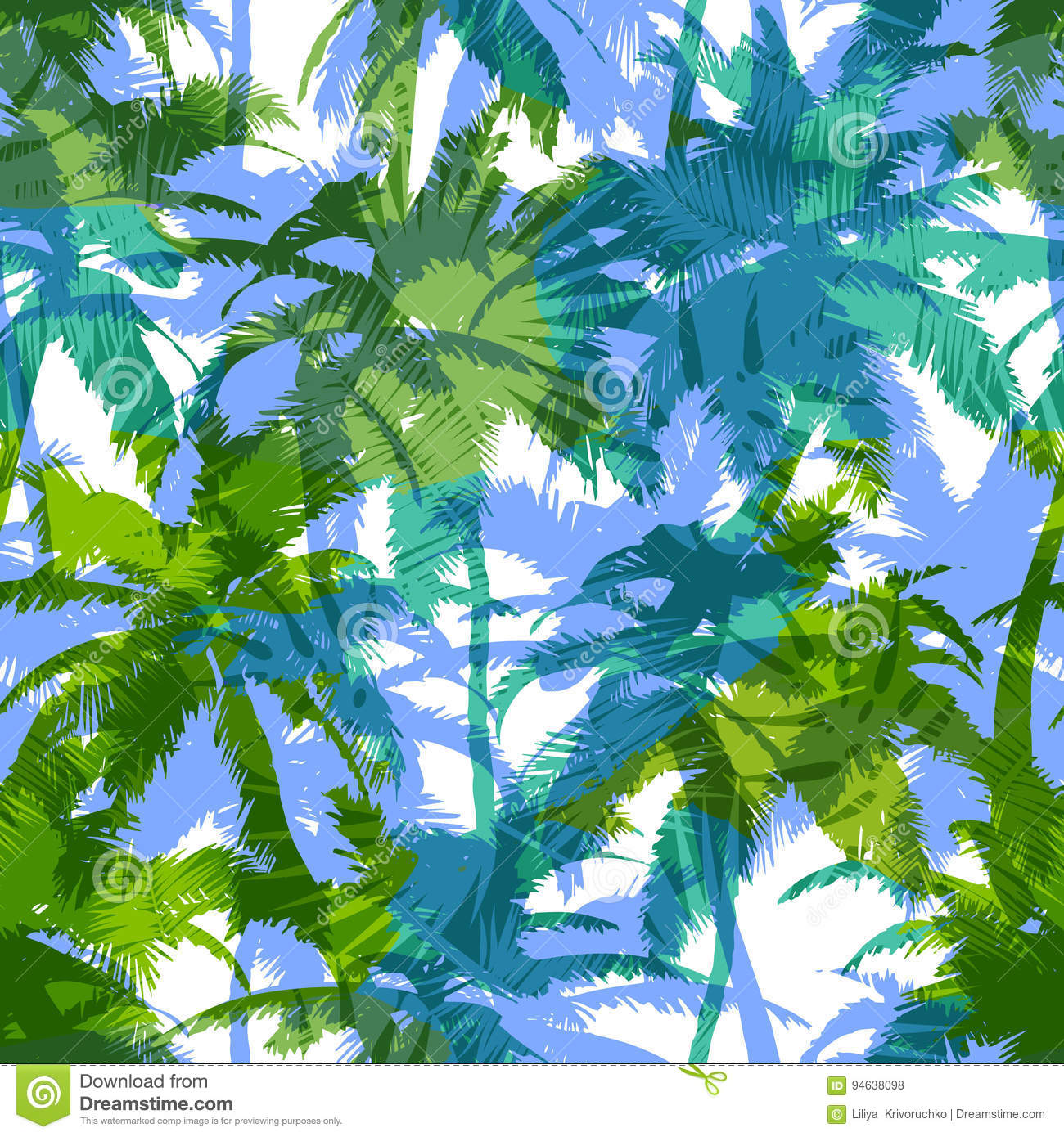 Trendy seamless exotic pattern with palm. Modern abstract design for paper, wallpaper, cover, fabric and other users. Vector illus