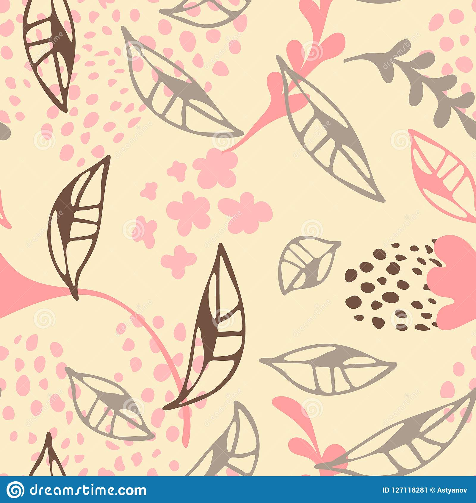 Contemporary Floral Seamless Pattern Cute Wallpaper Design Stock