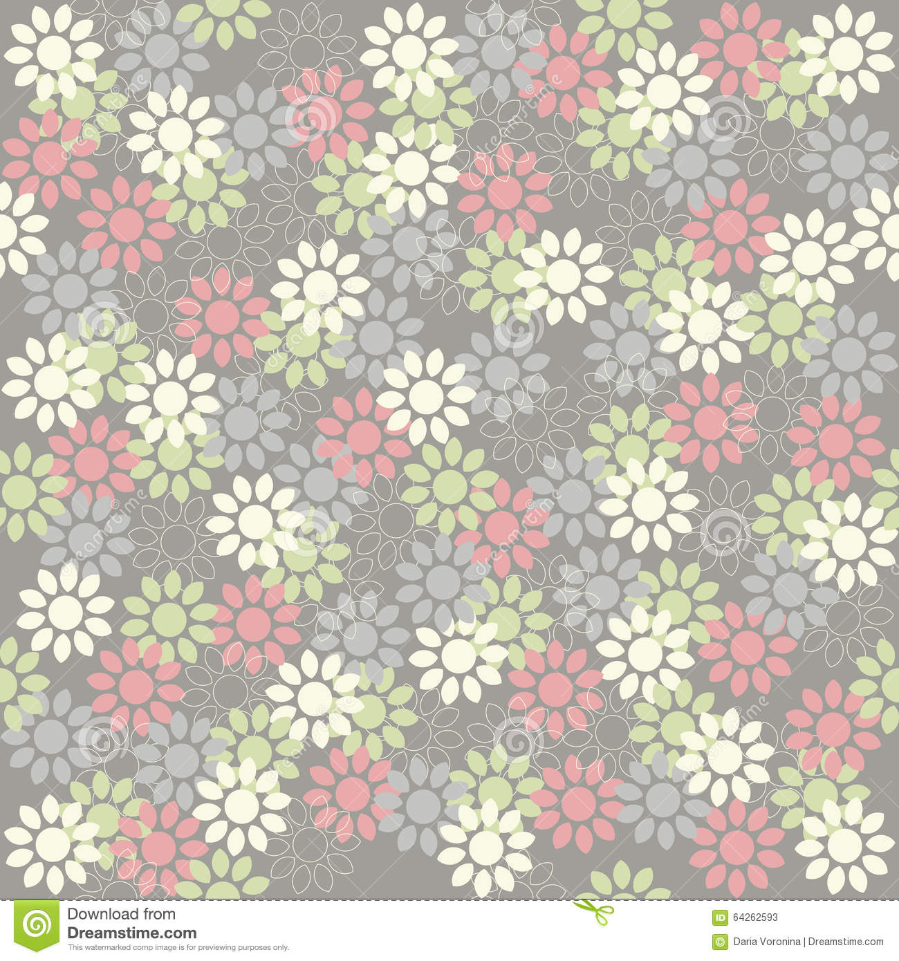 Trendy Wallpaper: Trendy Seamless Pattern With Cute Flowers Stock Vector