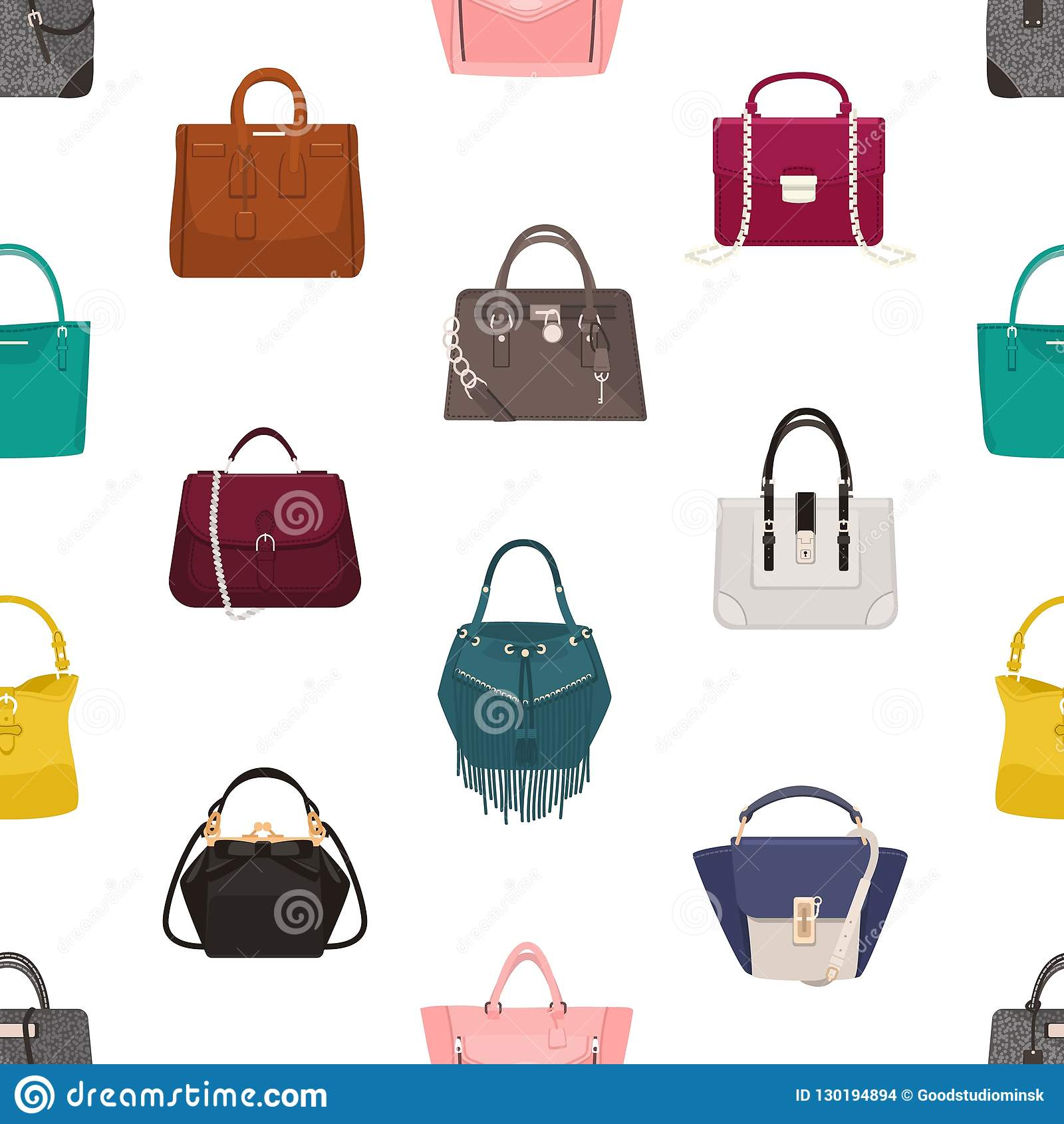 22be46be77 Trendy seamless pattern with stylish women`s bags or handbags of different  models on white background. Backdrop with fashionable leather accessories.  Vector ...