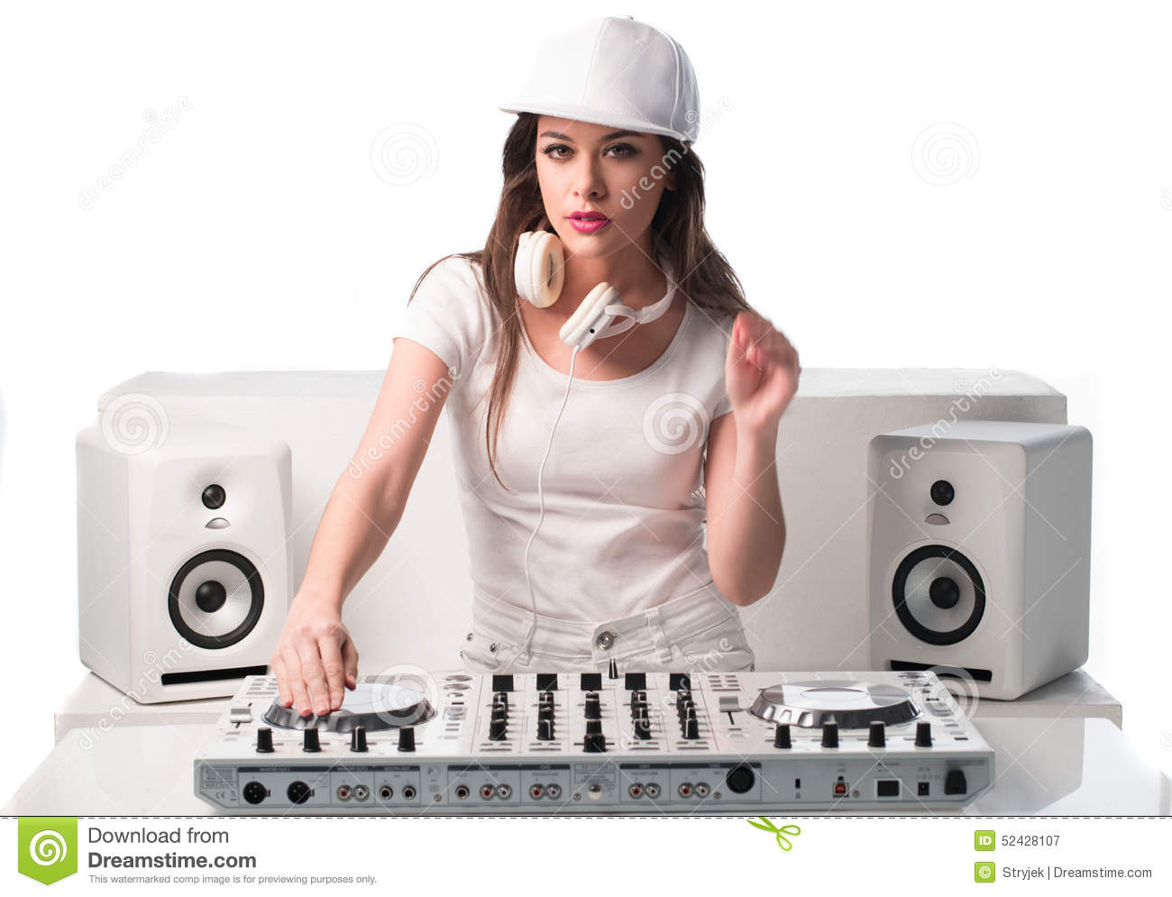 Trendy Dj Dressed In White Mixing Music Stock Image