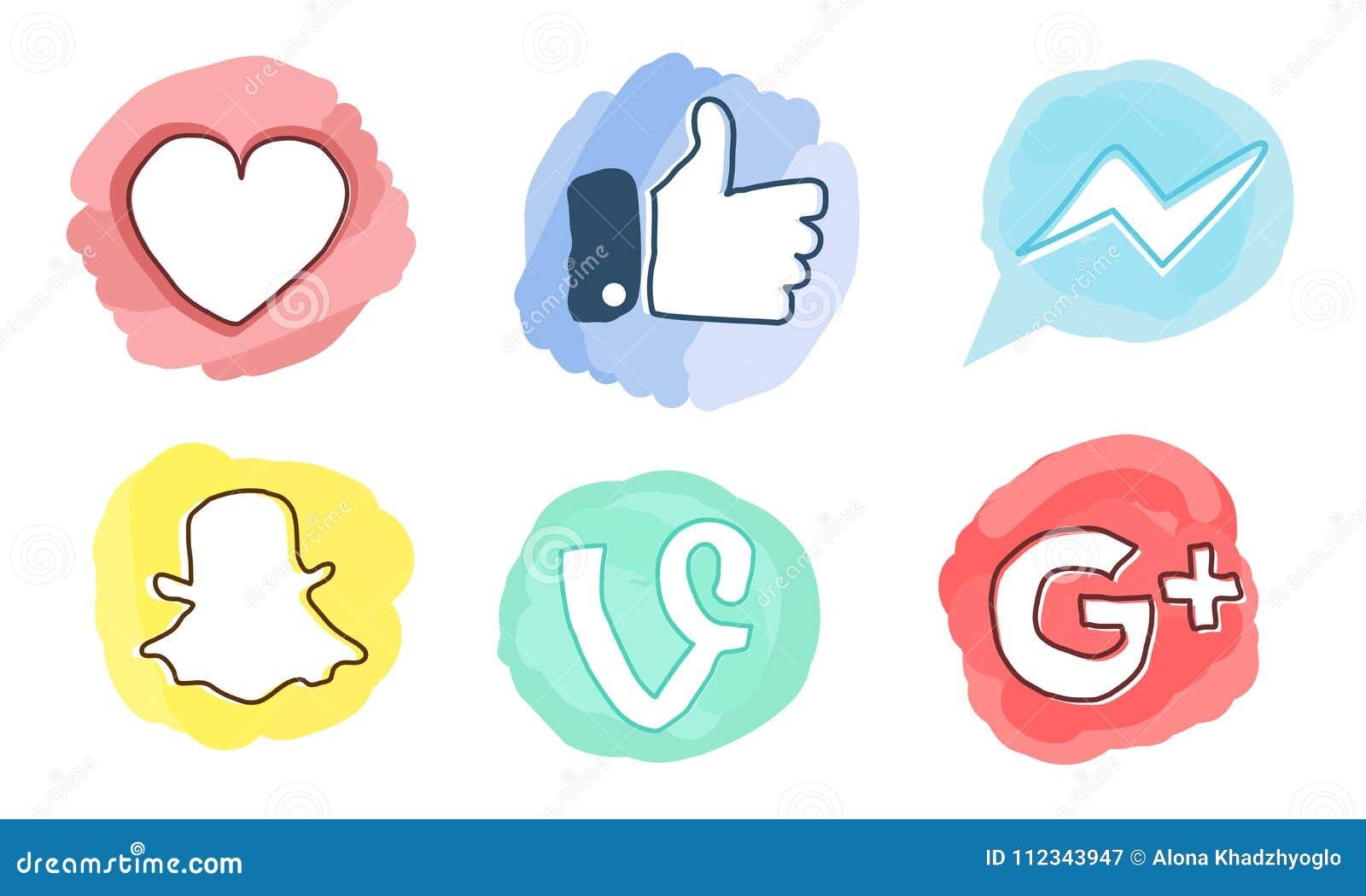 Set Of Social Media Icons Facebook Google Plus Vine Messenger