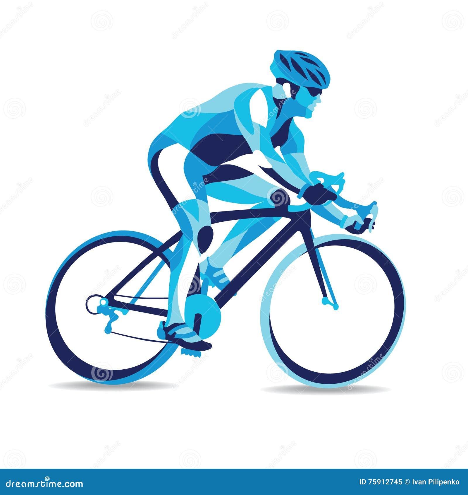 Trendy Stylized Illustration Movement, Bicycle Race, Line ...
