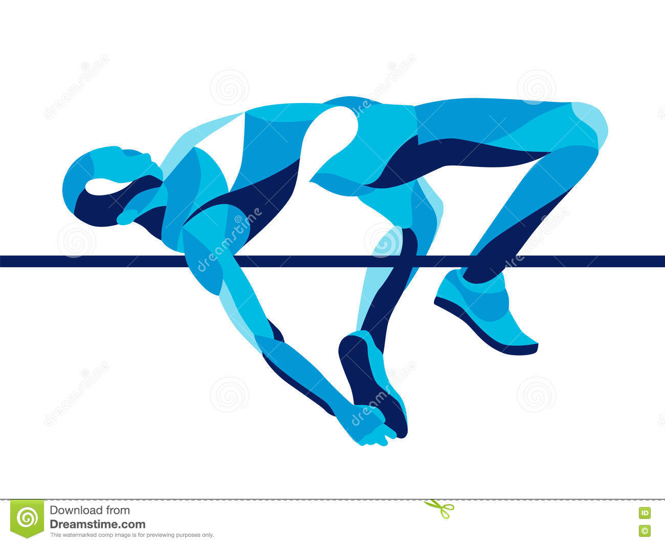 Trendy stylized illustration movement, high jump athlete composed of wave shape.