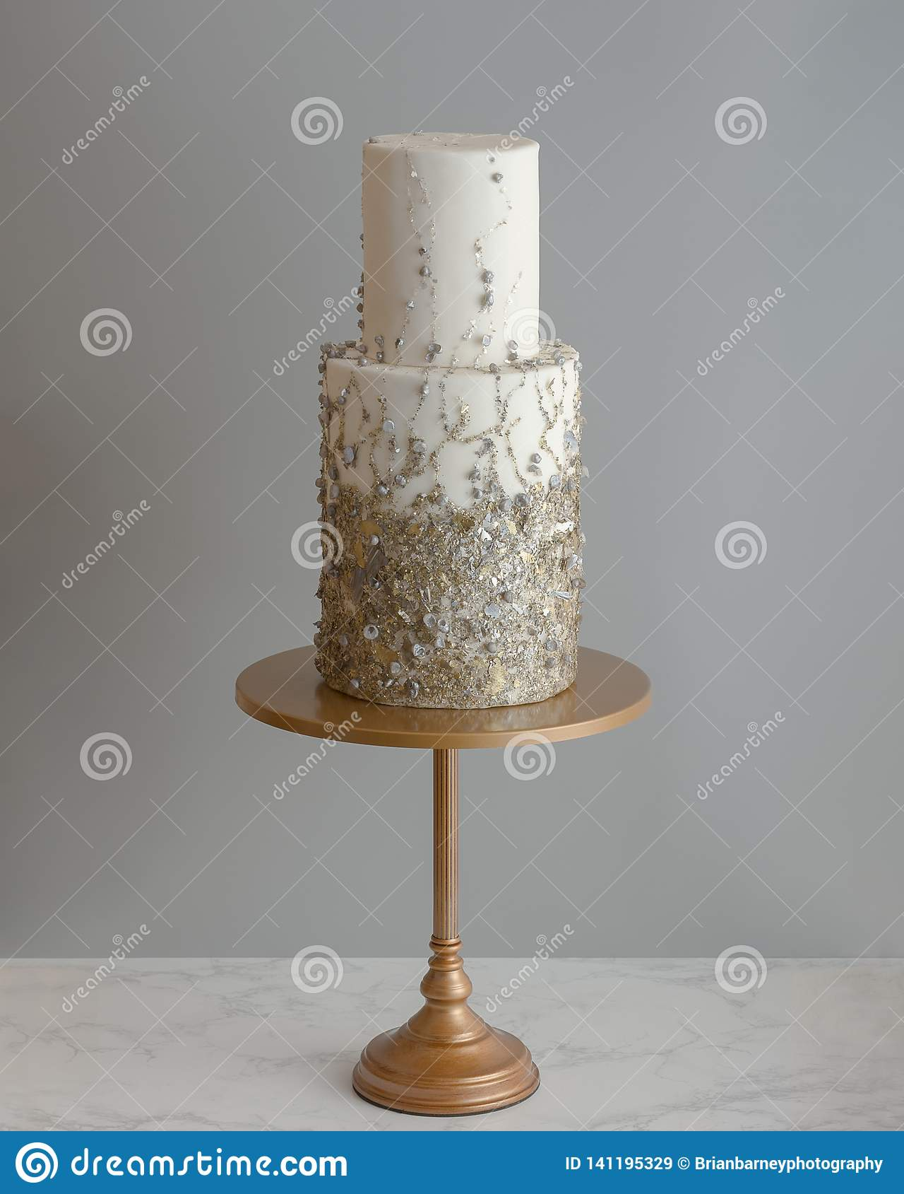 Trendy Tall 2 Tier Wedding Cake With Metallic Texture Stock Image Image Of Bridal Marble 141195329