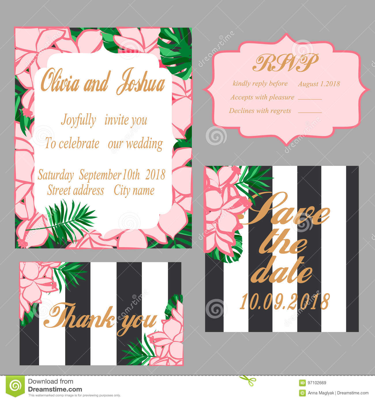 Trendy tropical jungle style vector wedding print set stock vector trendy tropical jungle style vector wedding print set invitation cards menu and envelope vector templates with exotic green blue pink plants with stopboris Choice Image