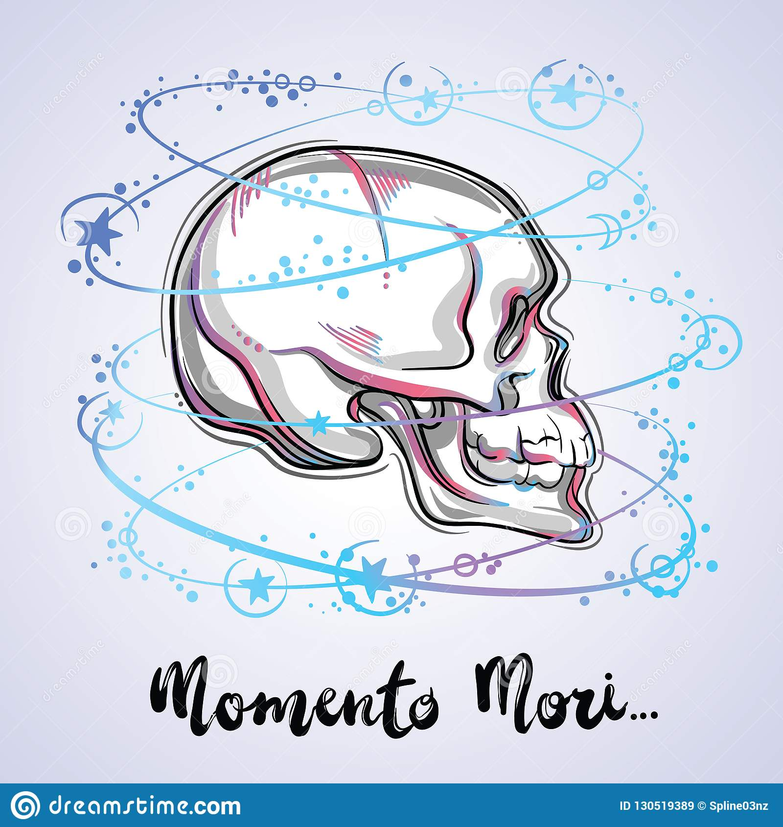 Trendy vector illustration of a human skull - the symbol of sacred life and bitter truth. Vintage tattoo design and mystic sign.