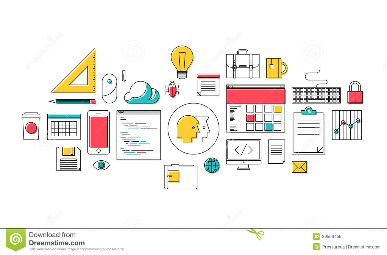 Vector Illustration Web Designs: Trendy Web Design And Programming Icons Stock Vector