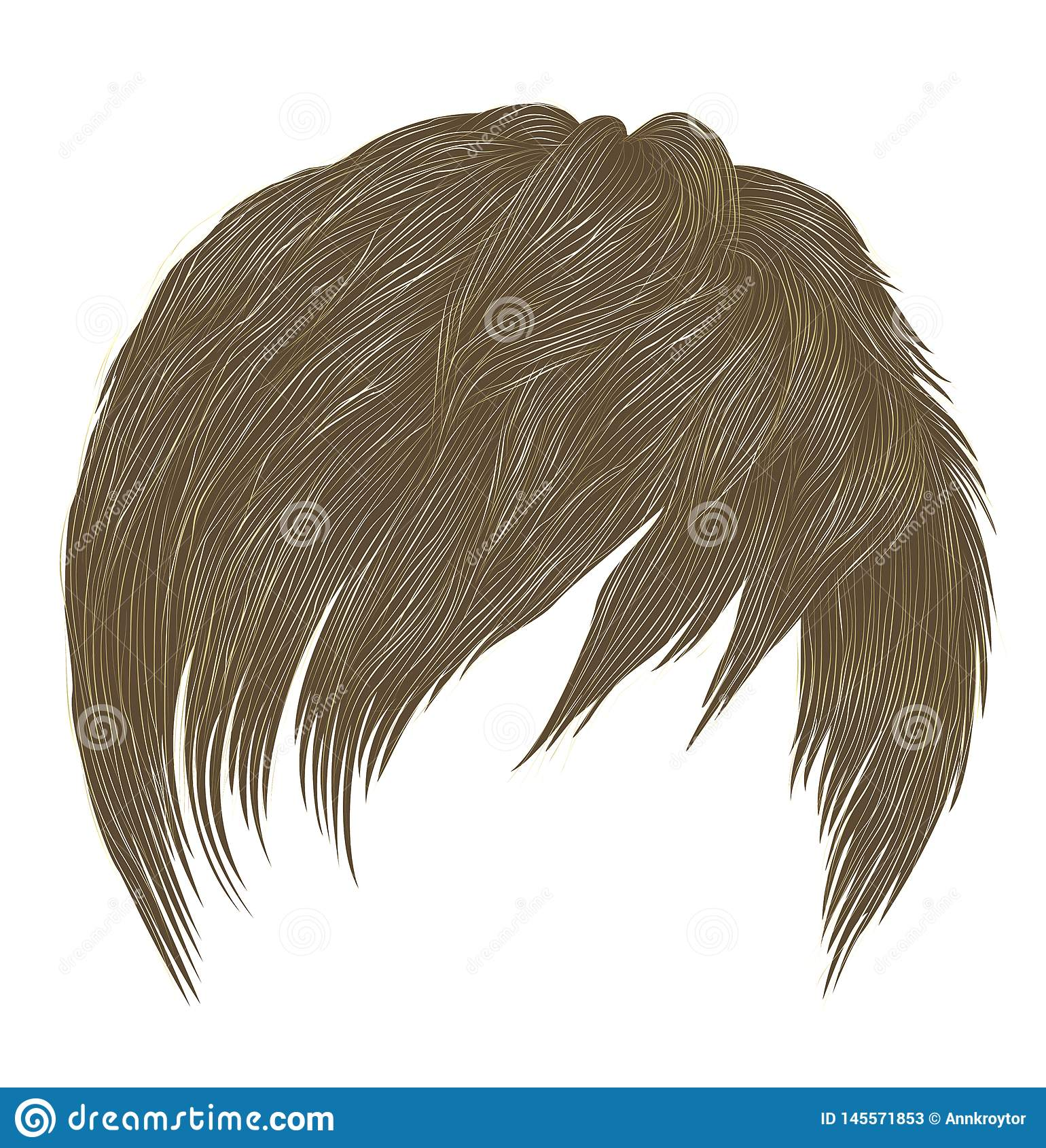 Trendy woman  man short  hairs blond  colors . fringe . fashion beauty style . realistic  3d
