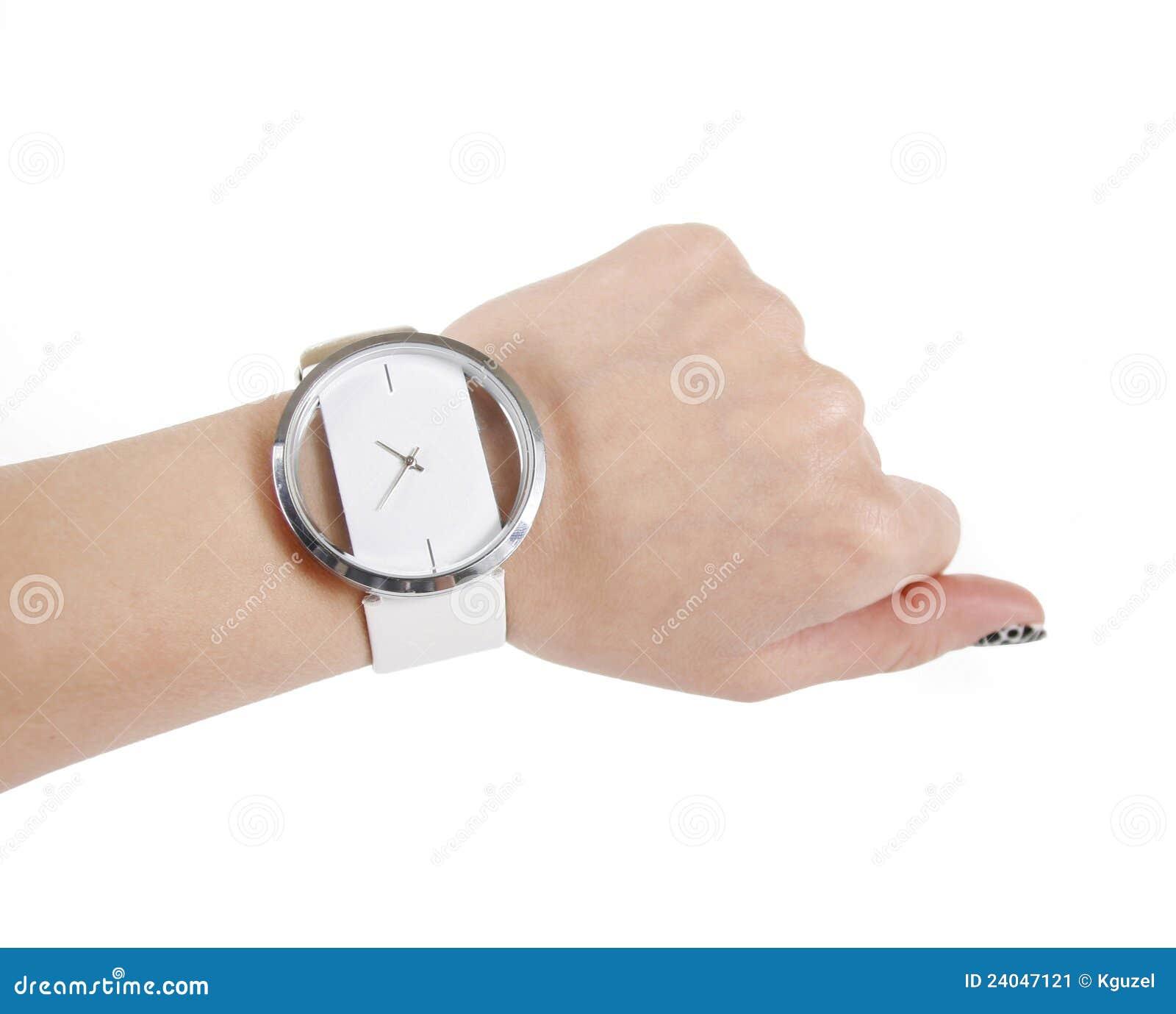 Trendy Wrist Watch On Woman Hand Stock Image - Image: 24047121