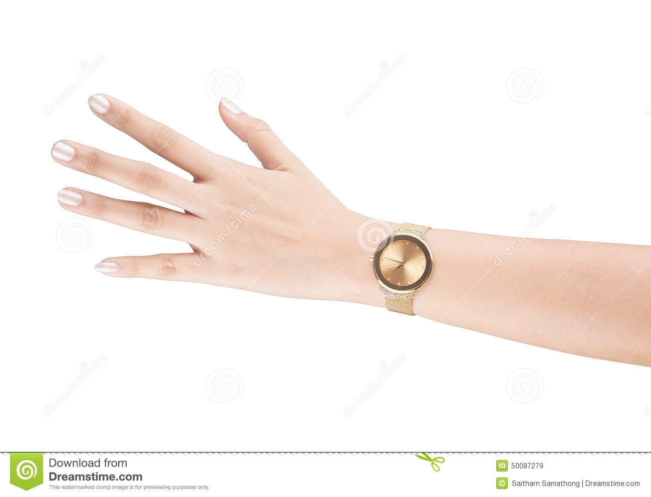 Trendy Wrist Watch On Woman Hand Isolated On White ...