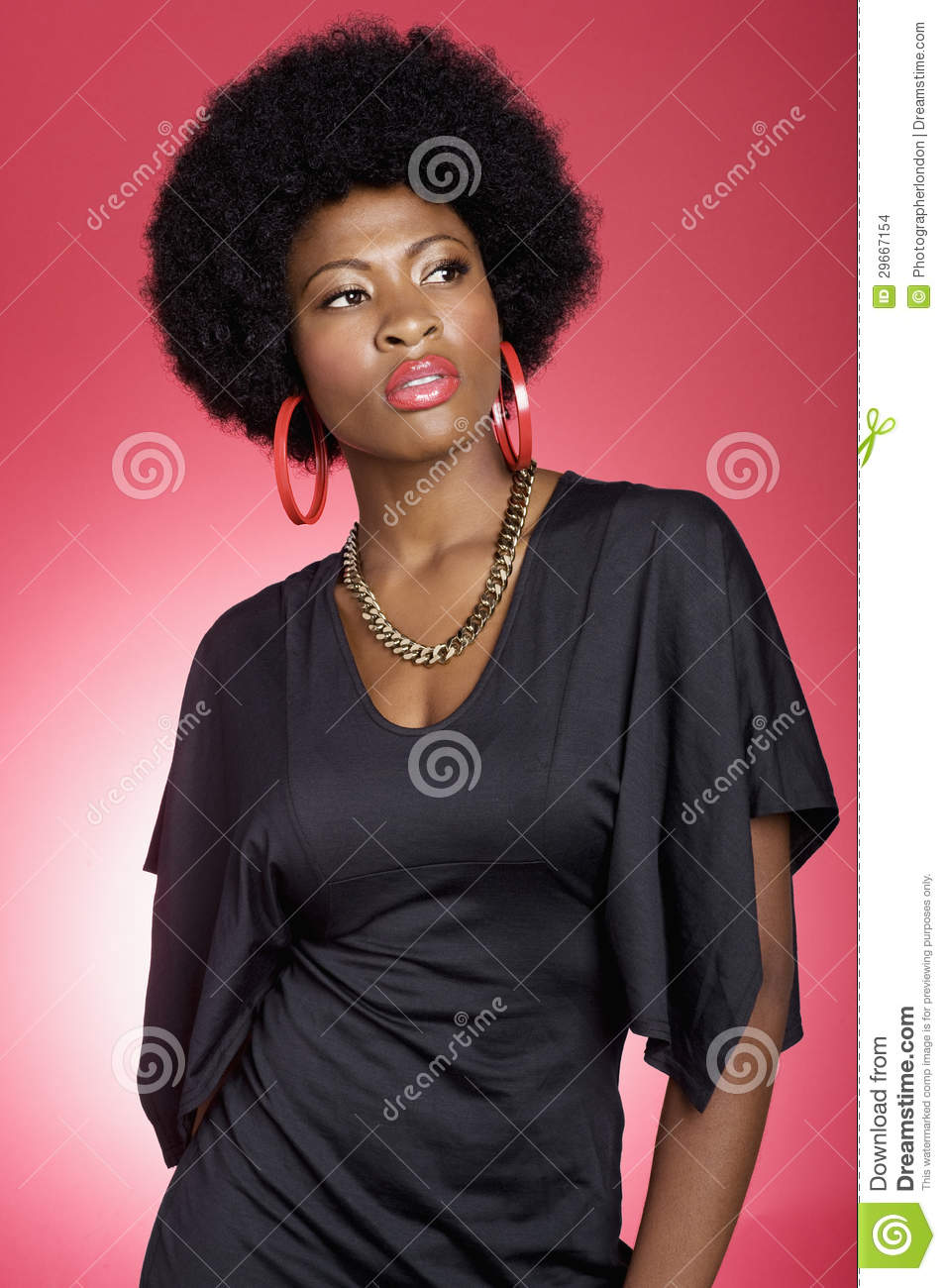 Trendy young African American woman over colored background