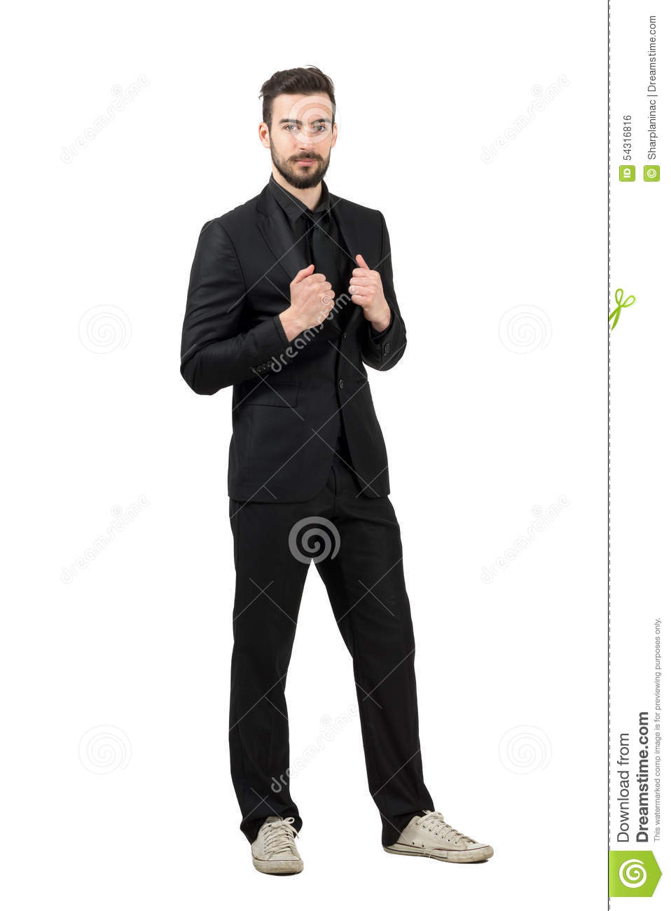 Trendy Young Bearded Businessman Wearing White Sneakers And Black ...
