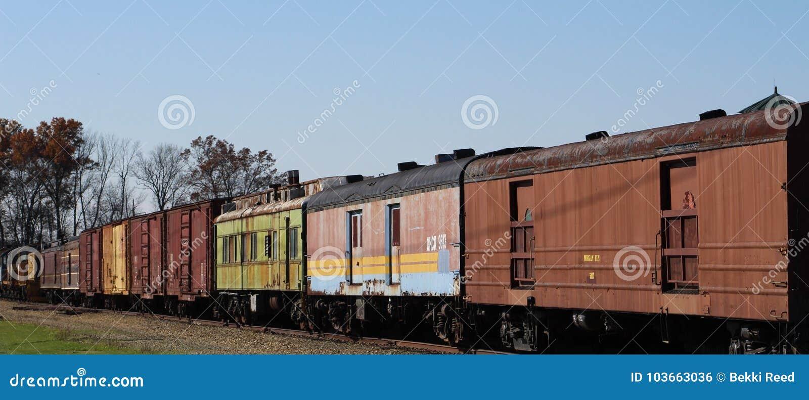 Trenes coloridos y días brillantes de la caída