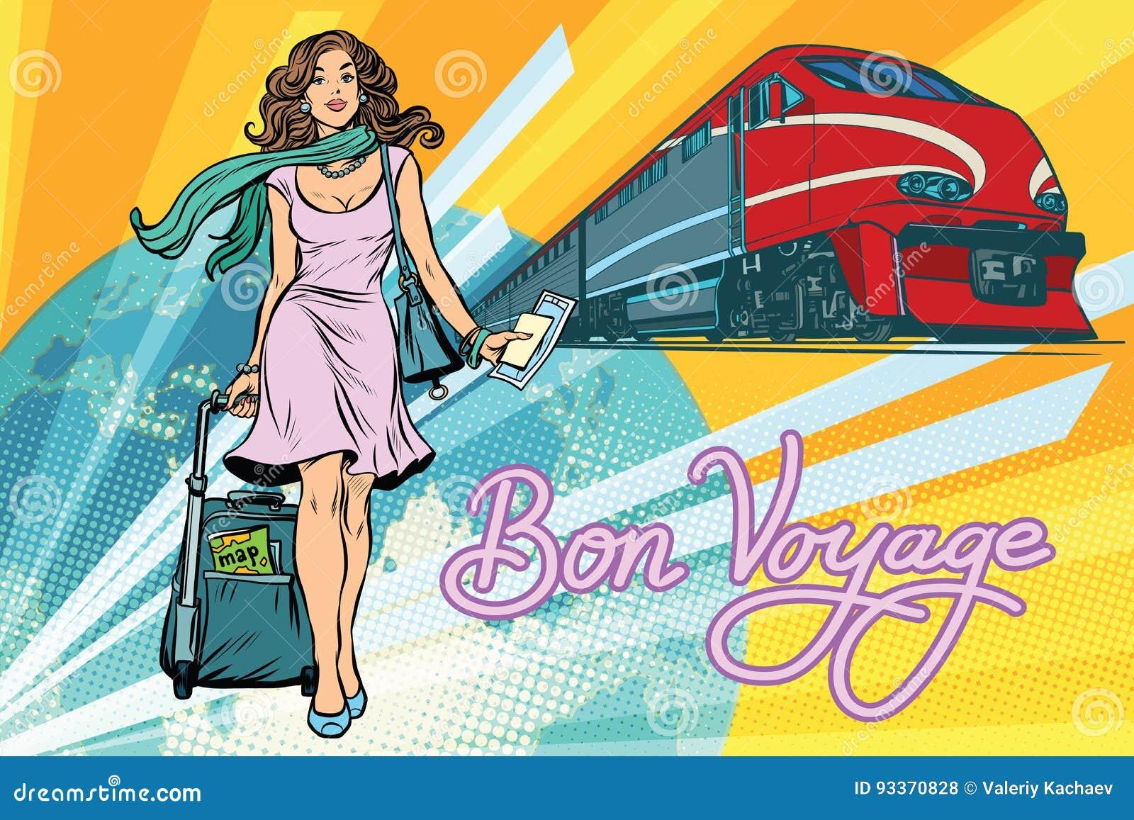 Treno Passeggeri Della Ferrovia Buon Viaggio Illustrazione