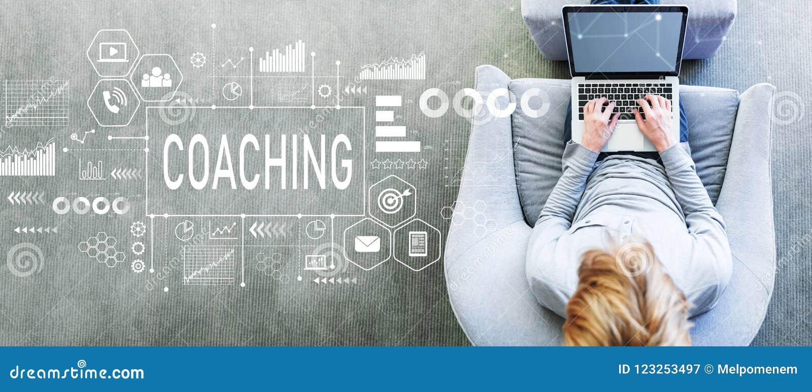 Trenowanie z mężczyzna używa laptop